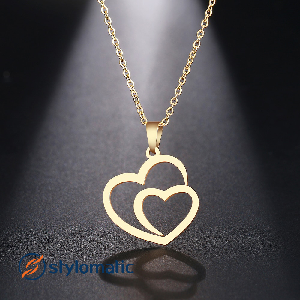 Double Heart Love Pendant Necklace Stylomatic
